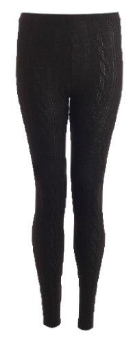 Fast Fashion - Leggings Câble De Tricotés - Femme (EUR (36-38), Noir)