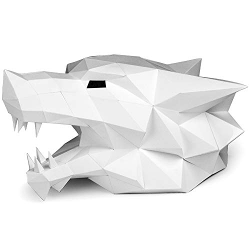 (Paperraz 3D Wolf Head Mask Animal Building Puzzle Low Poly PaperCraft Kit DIY Party Mask for Adults & Teens - NO Scissors)