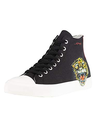 Ed Hardy Men's Fierce Tiger Print Hi Top Trainers, Black, 11 ()