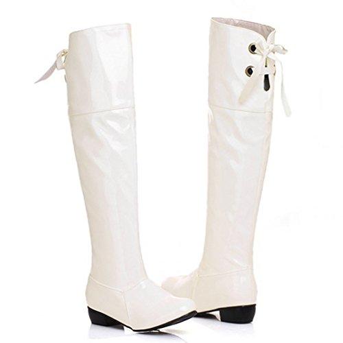 Confort Casual Casual Toe Lace Up Low Heels A Prueba De Agua Rodilla Botas Altas Zapatos Blanco
