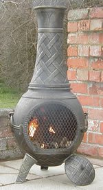 Castmaster Heavy Weight Basketweave Cast Iron Chiminea  Bronze Finish