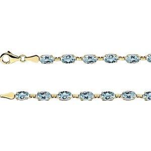 14K jaune topaze bleu ciel 17,8cm Bracelet