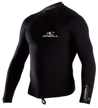 O'Neill Wetsuits UV Sun Protection Mens Thermo-X Long Sleeve Crew Sun Shirt Rash Guard, Black, (Polyolefin Rash Guard)