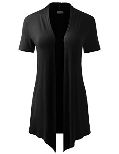 (BIADANI Women Short Sleeve Open Front Drape Cardigan with Side Pockets Black XX-Large)