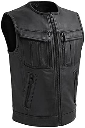 First MFG Co.-Unbeatable - Men's Motorcycle Leather Vest|Men's Motorcycle Vest for Ridding (Black, XX-Large)