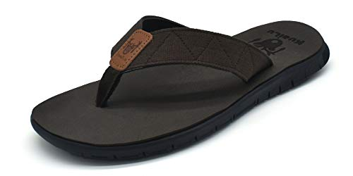 Brown Rubber Thong - Mens Flip Flops Slip on Flat Thong Sandals Non Slip Rubber Sole Lightweight Summer Beach Shoes Brown, 7 M US