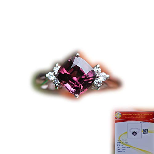 - Lovemom GLC Certified 11.98ct Natural Cushion Purple Spinel 925 Silver Ring 6US #eb4