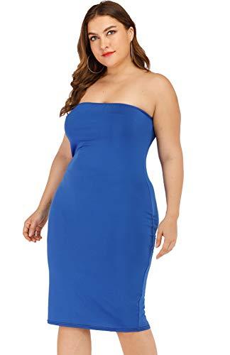 8a1364feeeeaf Women's Sexy Comfortable Strapless Stretchy Bodycon Dress Midi Club Tube  Dress (XL, PlusBlu)