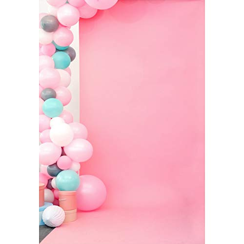 Leyiyi Colorful Balloon Backdrop 3x5ft Photography Backdrop Baby Pink Cement Wall Children Baby Wedding Lovers Personal Portraits Studio Props Birthday Party Wedding Site Layout -