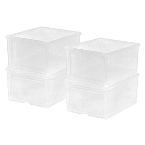 0 IRIS Easy Access Men's Shoe Box, 4 Pack, Wide, Clear ()