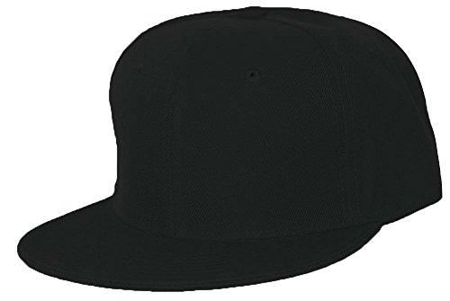Retro Fitted Baseball Cap - Black Flat Fitted Baseball Cap