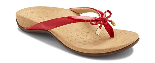 - Vionic Women's Rest Bella II Toepost Sandal - Ladies Flip Flop with Concealed Orthotic Arch Support Red Patent 8.5 M US