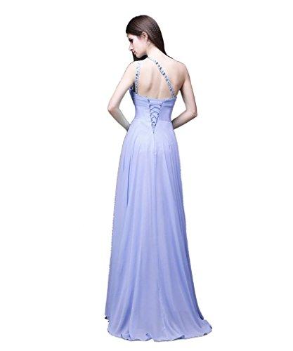 Damen Helles Schulter Kleider Lila eine lange Kmformals prom BxqOdOU