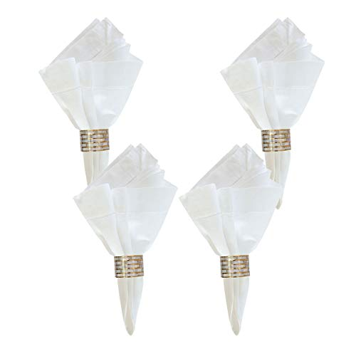 (Mother of Pearl Inlay Napkin Rings - Set of 4)