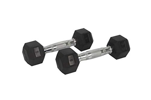FixtureDisplays Rubber Dumbbell in Pair – with Metal Handles Pair of Two 5 lbs Dumbbells 15187
