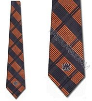 Auburn Tigers NeckTies Woven Plaid Ties (Tigers Woven Polyester Tie)