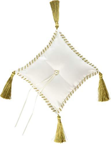 David Tutera CKTB-1803-1/W Sq Pillow Cord Tassel Cream, (Embroidered Ring Bearer Pillow)
