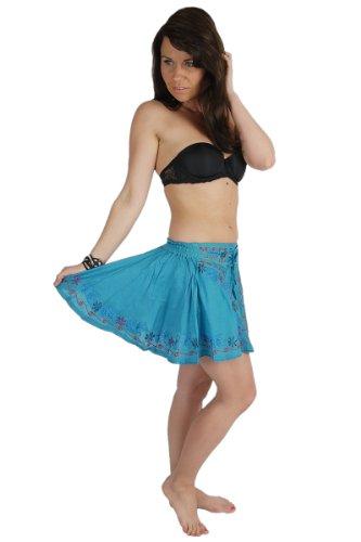 Minifalda bordada con cintas juguetonas y cinturilla elástica turquesa