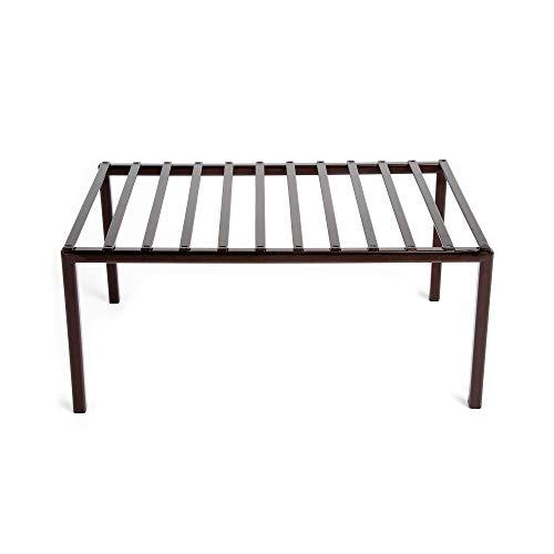 Smart Design Premium Kitchen Storage Shelf w/Plastic Feet - Medium - Steel Metal Frame - Rust Resistant Coating - Counter, Pantry, Shelf Organization - Kitchen (13 x 6 Inch) [Bronze]