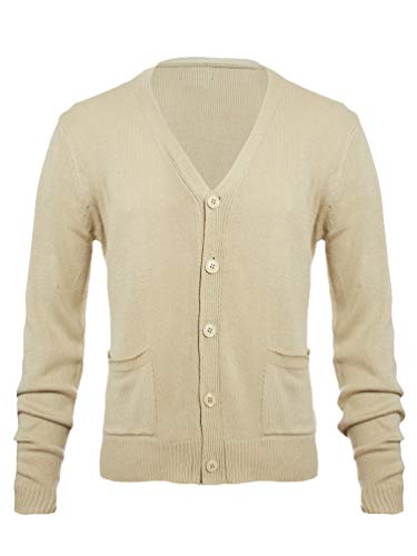 Knit Minded Mens Flat Knit Two Pocket Cardigan Taupe XL