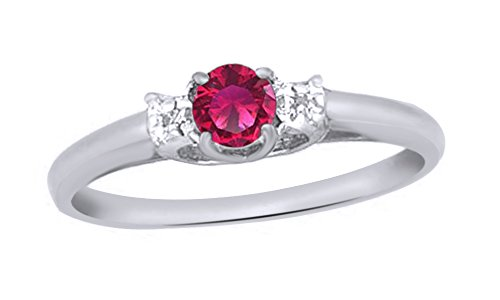 Jewel Zone US Simulated Ruby & White Natural Diamond Solitaire Engagement Ring in 10k Solid Gold (0.25 Cttw) (2 Carrot Diamond Engagement Ring)
