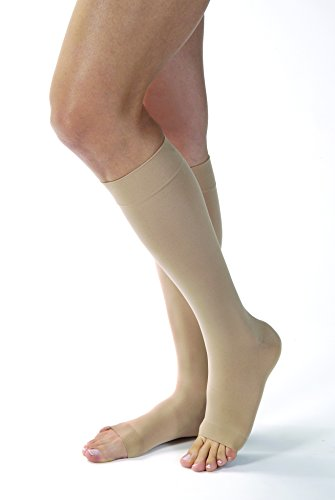 High Natural Knee (Women's Opaque 15-20 mmHg Open Toe Knee High Support Stocking Size: Large, Color: Natural)