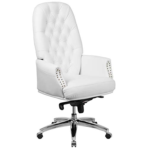 (Flash Furniture High Back Traditional Tufted White Leather Multifunction Executive Swivel Chair with Arms)