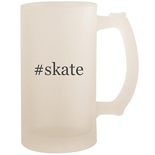 In Hockey Line Gloves (#skate - 16oz Glass Frosted Beer Stein Mug, Frosted)