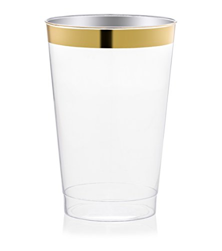 DRINKET Gold Plastic Cups 14 oz Clear Plastic Cups / Tumblers Fancy Plastic Wedding Cups With Gold Rim 50 Ct Disposable For Party Holiday and Occasions SUPER VALUE - Rim With Glasses Gold
