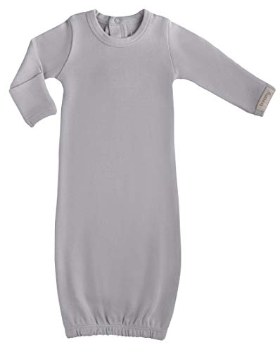 (Baby Girl's Organic Cotton Sleeper Gown with Mittens-Available in Preemie Size Grey)