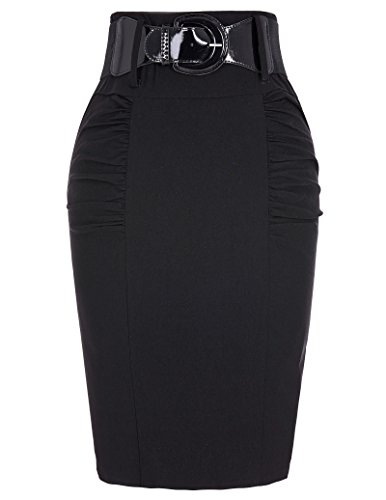 Belle Poque Stretchy Pencil Skirts for Work Business Black, Size Large KK271-1 ()