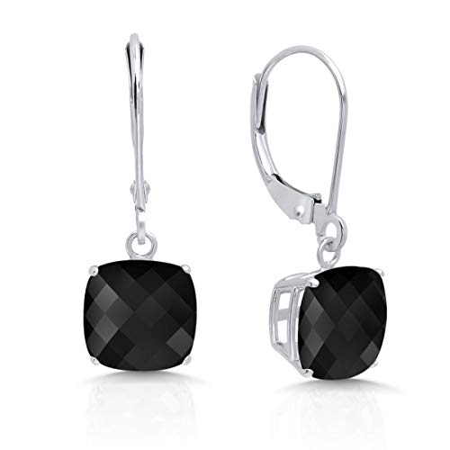 14k White Gold Onyx Dangle Leverback Earrings (8mm)