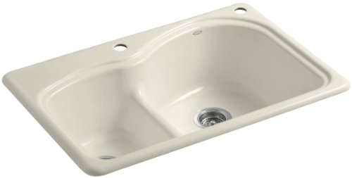 Woodfield Cast Iron Kitchen Sink - Kohler K-5839-2-47 Woodfield Smart Divide Self-Rimming Kitchen Sink with Medium/Large Basins and Two-Hole Faucet Drilling, Almond