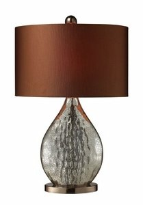 Dimond D1889 15-Inch Width by 23-Inch Height Sovereign Table Lamp in Antique Mercury and Coffee Plating with Oval Copper Faux Silk Shade and Bright Copper Liner