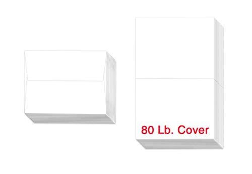 "Heavyweight Blank White Greeting Cards and Envelopes | 4 1/4"" x 5 1/2"" Inches 