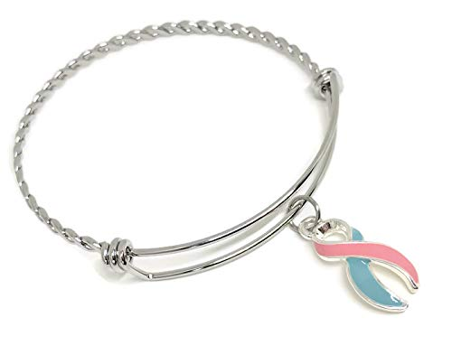 Miscarriage and Infant Loss Awareness Ribbon Bracelet: Pink and Blue Ribbon