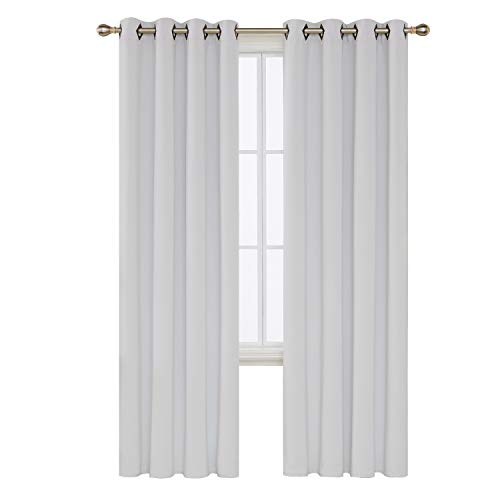Deconovo Platinum White Blackout Curtains 95 Inch Length Grommet Thermal Insulated Drapes and Curtains for Living Room 2 Panels 52x95 Inch -