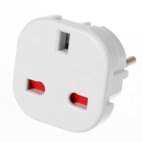 CABLEPELADO Adaptador de Enchufe de Europeo a Enchufe UK 2X, Blanco