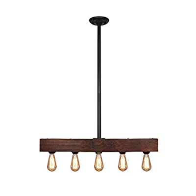 Unitary Brand Vintage Black Metal and Wood Body Kitchen Island Lighting with 5 E26 Bulb Sockets 300W Painted Finish