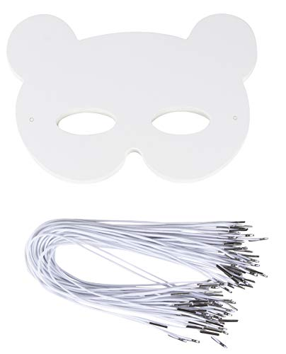 DIY Mask - 48-Pack Blank Masquerade Mask for Halloween Costume Party, Bear Design, 250 GSM, 8.25 x 7.5 Inches]()