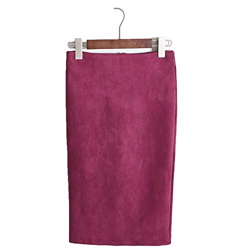 pursuit-of-self Multi Colors 2018 Women Skirt Winter Solid Suede Work Wear Package Hip Pencil Midi Skirt,Wine red,M -