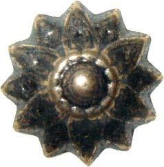 Oxford Antiqued Finish Floral Head Tacks 3/4'' Diameter + 9/16'' Long 12 Nails Pack Decorative Furniture Upholstery Pins + Free Bonus (Skeleton Key Badge) AD-3535