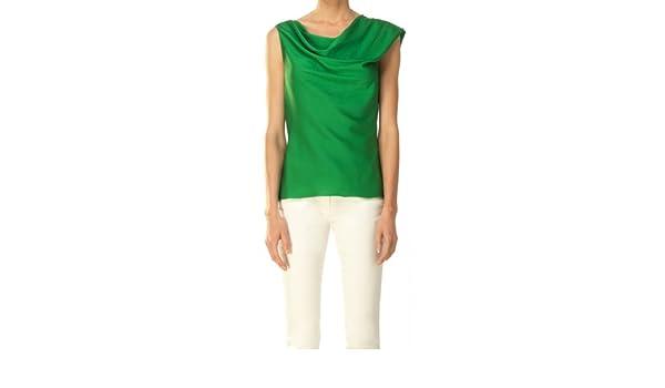 Elástico Seda Georgette Draped Blusa Verde verde esmeralda: Amazon.es: Ropa y accesorios