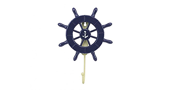 Ships Steering Wheel Wooden Ship Wheel Dark Blue Decorative Ship Wheel with Anchor with Hook 6 Inch