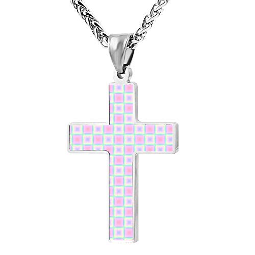 Davis-HO Square Pastel Key Cross Necklace Holder Chain Pendant Prayer Jewelry Chokers with Zinc Alloy for Men -