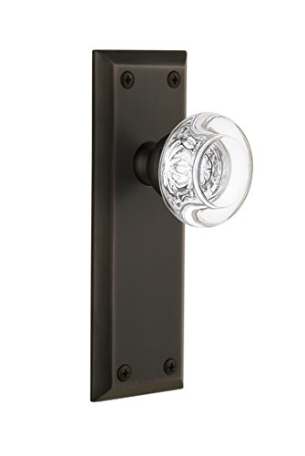 Bordeaux Door Knob (Grandeur Fifth Avenue Plate with Bordeaux Crystal Knob, Double Dummy, Timeless Bronze)