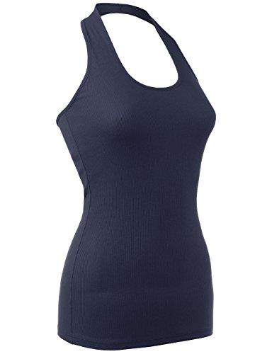 DOUBLDO Womens Sexy Ribbed Jersey Halter Neck Open Back Sleeveless Tank Top-L-Navy Cotton Spandex Halter Top