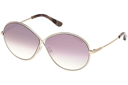 - Tom Ford TF 0564 Rania color 28Z Gold/Purple gradient silver flash mirror