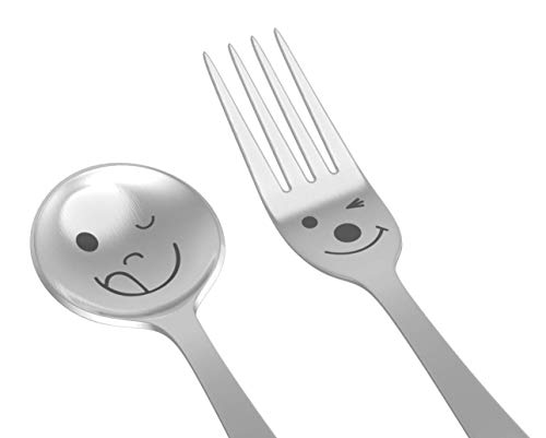 (Set of 4, Happy Dessert Spoon and Fork, Laser Design Stainless Steel, Good for Coffee, Cake, Ice Cream - Fun)