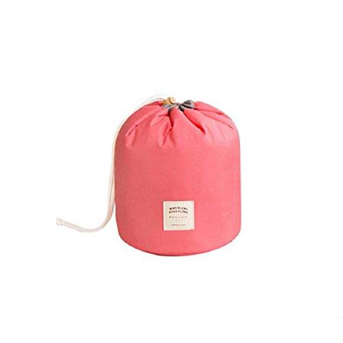 Doinshop Women Travel Cosmetic Bag Dresser Pouch Polyester Makeup Case (pink) ()